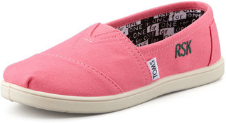 Toms Personalized Classic Canvas Slip-On, Pink, Youth