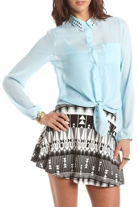 Charlotte Russe Tie-Front Stud Collar Blouse