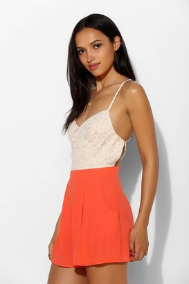 Urban Outfitters Pins And Needles Lace-Top Open-Back Romper