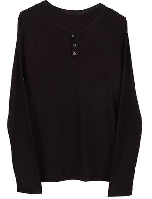 Velvet Victor Jersey Henley in Black