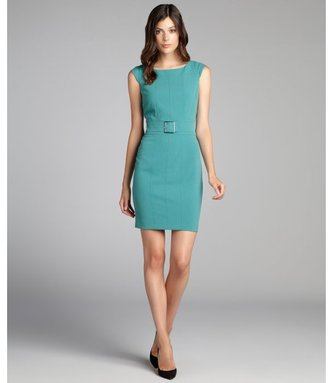 Marc New York sage green belted cap sleeve stretch knit dress