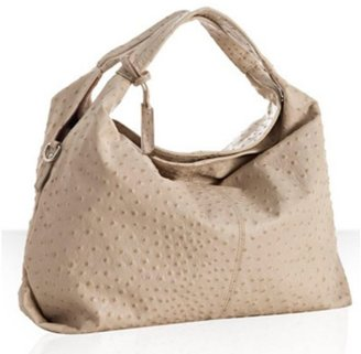 Furla nougat ostrich embossed leather 'Elisabeth' medium shoulder bag