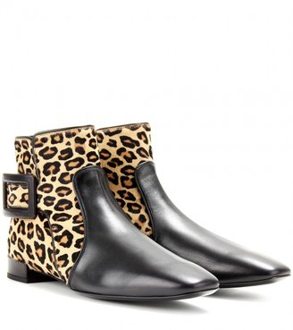 Roger Vivier POLLY LEATHER AND HAIRCALF ANKLE BOOTS