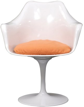Modway Eero Saarinen Style Tulip Arm Chair with Orange Cushion