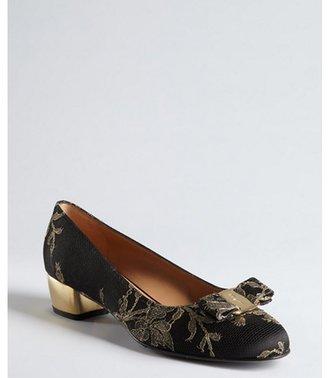 Salvatore Ferragamo black and gold satin lace bow 'Taos' reflective heel pumps