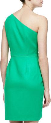 Halston Folded-Side Satin Dress