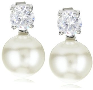 Nina 'Madelyn' Glass Pearl and Cubic Zirconia Stud Earrings