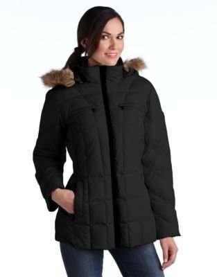 Larry Levine Hooded Puffer Coat With Faux Fur Trim