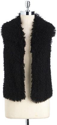 T Tahari Faux-Fur Open-Front Vest