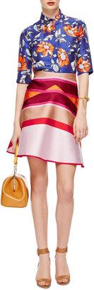 Ostwald Helgason Striped Double-Face Flared Skirt