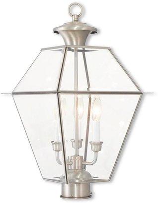 Livex Lighting Westover 3-Light Outdoor Brushed Nickel Post Light