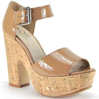 KORS Korey - Cork Patent Leather Platofrm Cork Sandal
