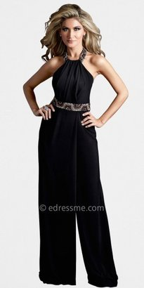 Xscape Evenings Terani Couture Halter-Necked Belt Embroidered Jumpsuits