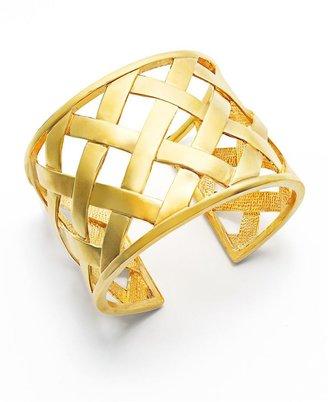 Kenneth Jay Lane Bracelet, Gold Tone Basket Weave Cuff