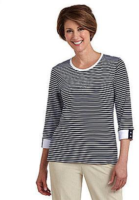 Allison Daley II 3/4-Sleeve Stripe Knit Top