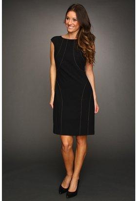 Ellen Tracy Cap Sleeve Dress with Stitching (Black) - Apparel