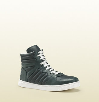 Gucci Green Nylon High-Top Sneaker