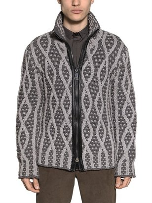 Les Hommes Zip Up Two Tone Knitted Wool Cardigan