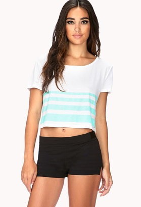 Forever 21 Striped Workout Crop Top