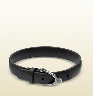 Gucci Black Leather Bracelet With Stirrup Buckle