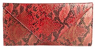 Wyatt red snake printed and embossed faux-leather envelope clutch