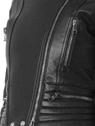 Balmain Quilted leather biker jacket