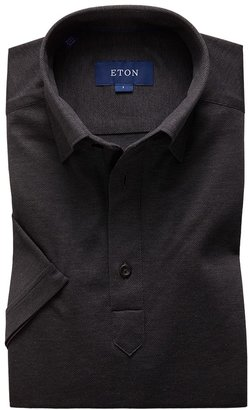Eton Dark Grey Polo Popover Shirt - Short Sleeved - Slim Jersey Fit