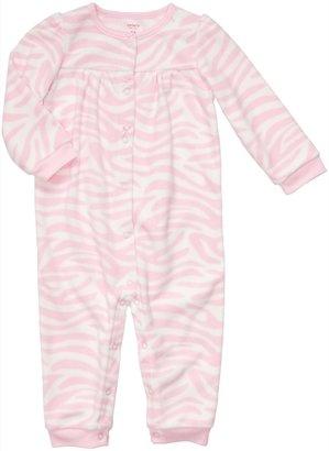 Carter's Infant Long Sleeve One Piece Fleece Coverall - Zebra Print-6 Months