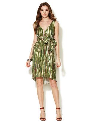 Lafayette 148 New York Halo Printed Linen Wrap Front Dress