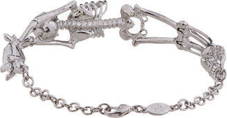Alexander McQueen Silver & Crystal Skeleton Bracelet