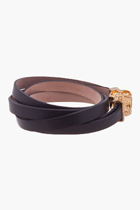 Alexander McQueen Black Nappa Leather Double-Wrap Skull Bracelet