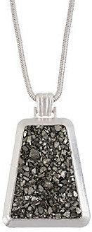 Kenneth Cole Silvertone Semi-Precious Geometric Pendant Long Necklace
