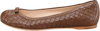 Bottega Veneta Woven Leather Ballerina Flat, Dark Brown