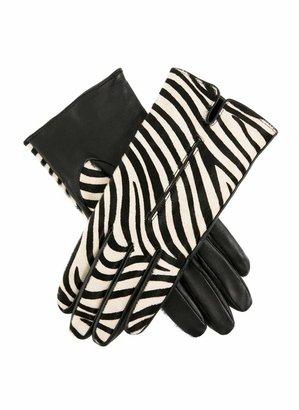 Dents Lynne Women's Animal Print Ponyskin and Leather Gloves ZEBRA 7.5