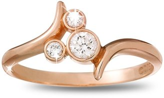 Disney Diamond Mickey Mouse Icon Bypass Ring 14K Rose Gold
