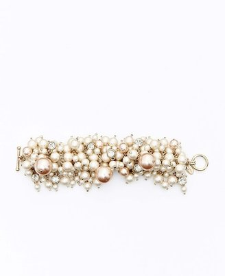 Ann Taylor Large Pearlized Bead and Crystal Statement Bracelet