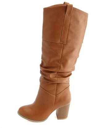 Charlotte Russe Slouchy Knee-High Thick-Heel Boot