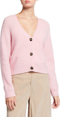 Ganni Chunky Grandpa Wool-Blend Knit Cardigan