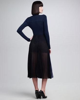 Donna Karan Pleated Silk Chiffon Sunray Skirt