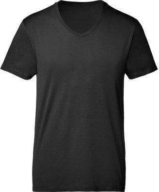 American Vintage Black Cotton Short Sleeve V-Neck T-Shirt