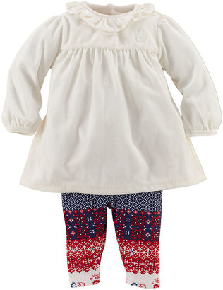 Ralph Lauren Newborn Girls 0-9 Months Two-Piece Stretch Velvet Dress & Leggings Set