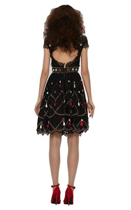 Alice + Olivia Voloshin Embellished Lace Dress
