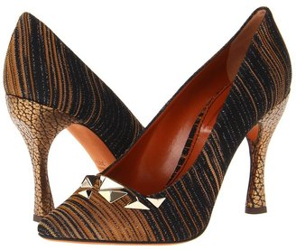 Missoni Stripe Pattern Pointed Pump with Studs (Black/Gold) - Footwear