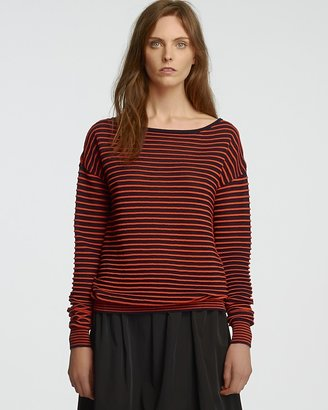 Halston Sheer Mini Stripe Sweater - Boat Neck