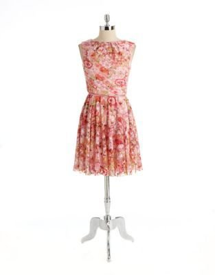 Maggy London Belted Floral Lace Dress