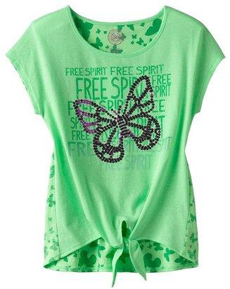 Free Spirit So butterfly neon tie-front tee - girls plus
