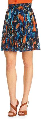 Catherine Malandrino Printed Pleated A-Line Skirt