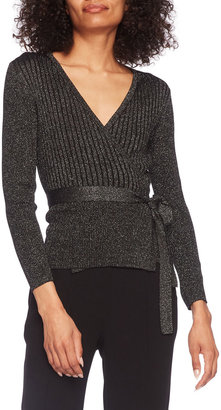 Diane von Furstenberg Bonnie Metallic Merino Wrap Top