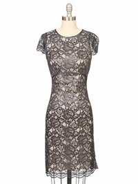 L'Agence Lace Cap Sleeve Dress With Slip