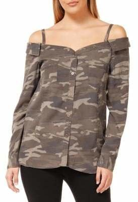 Dex Camouflage Cold-Shoulder Button-Down Shirt